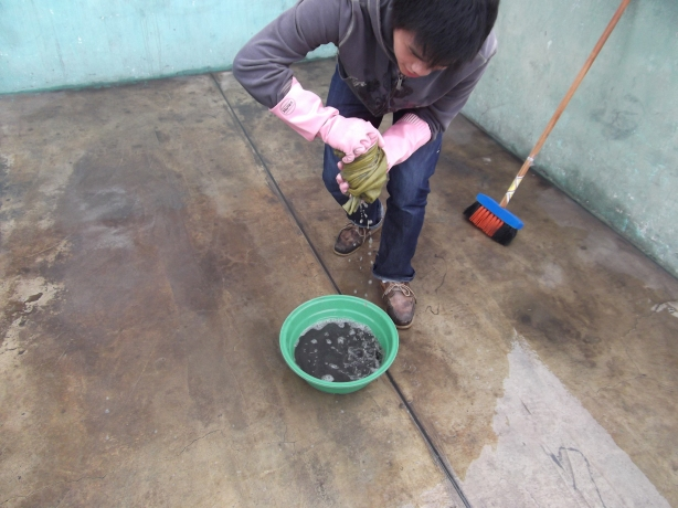 Peru Volunteer Jason Mar Cleaning