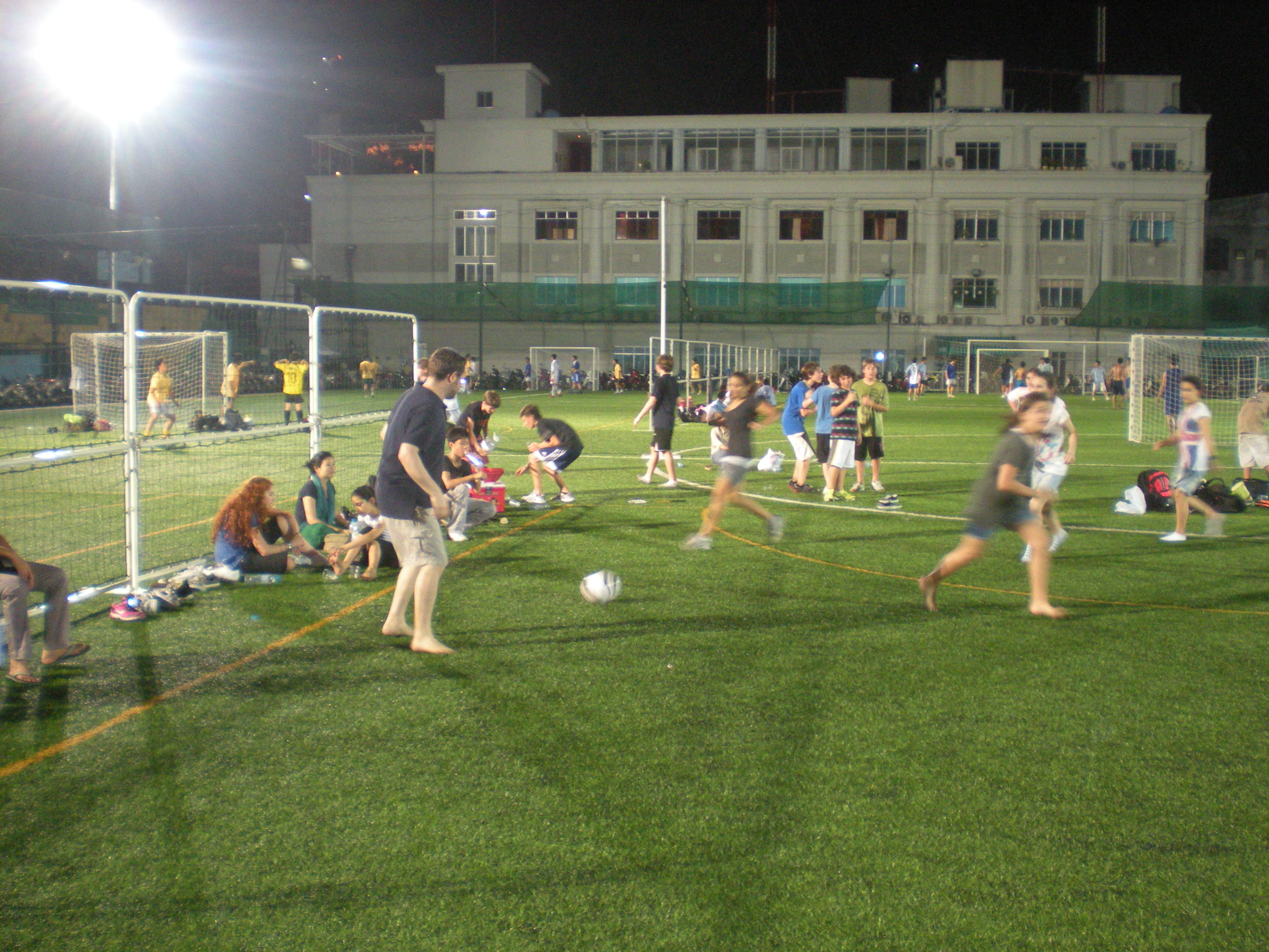 Playing Soccer in Vietnam Under the Lights