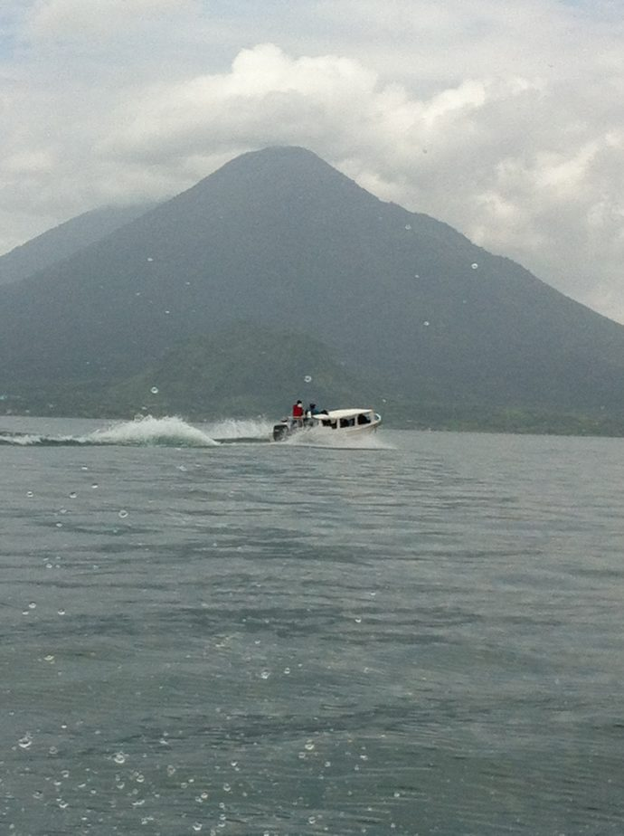 Boat ride on Lake Atitlan while volunteering in Guatemala