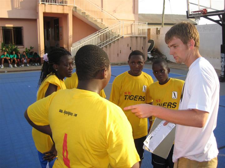 Ghana Africa Basketball Coaching Huddle