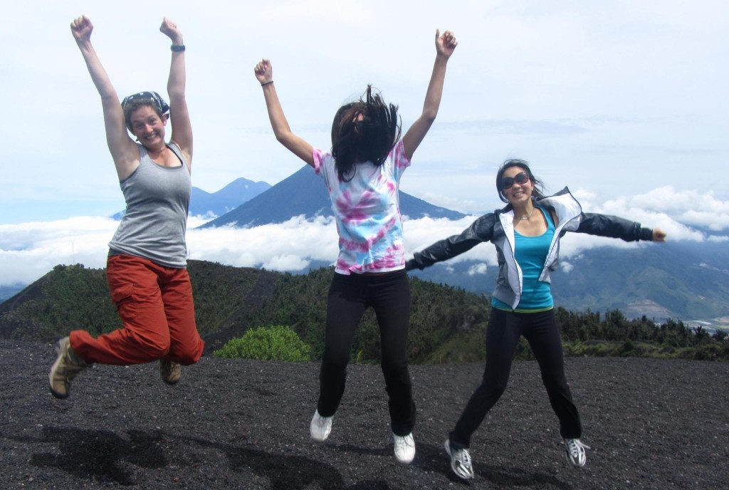 Guatemala Volunteers Jumping at Pacaya Volcano