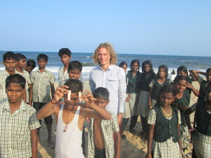 Visiting the beach while volunteering in India