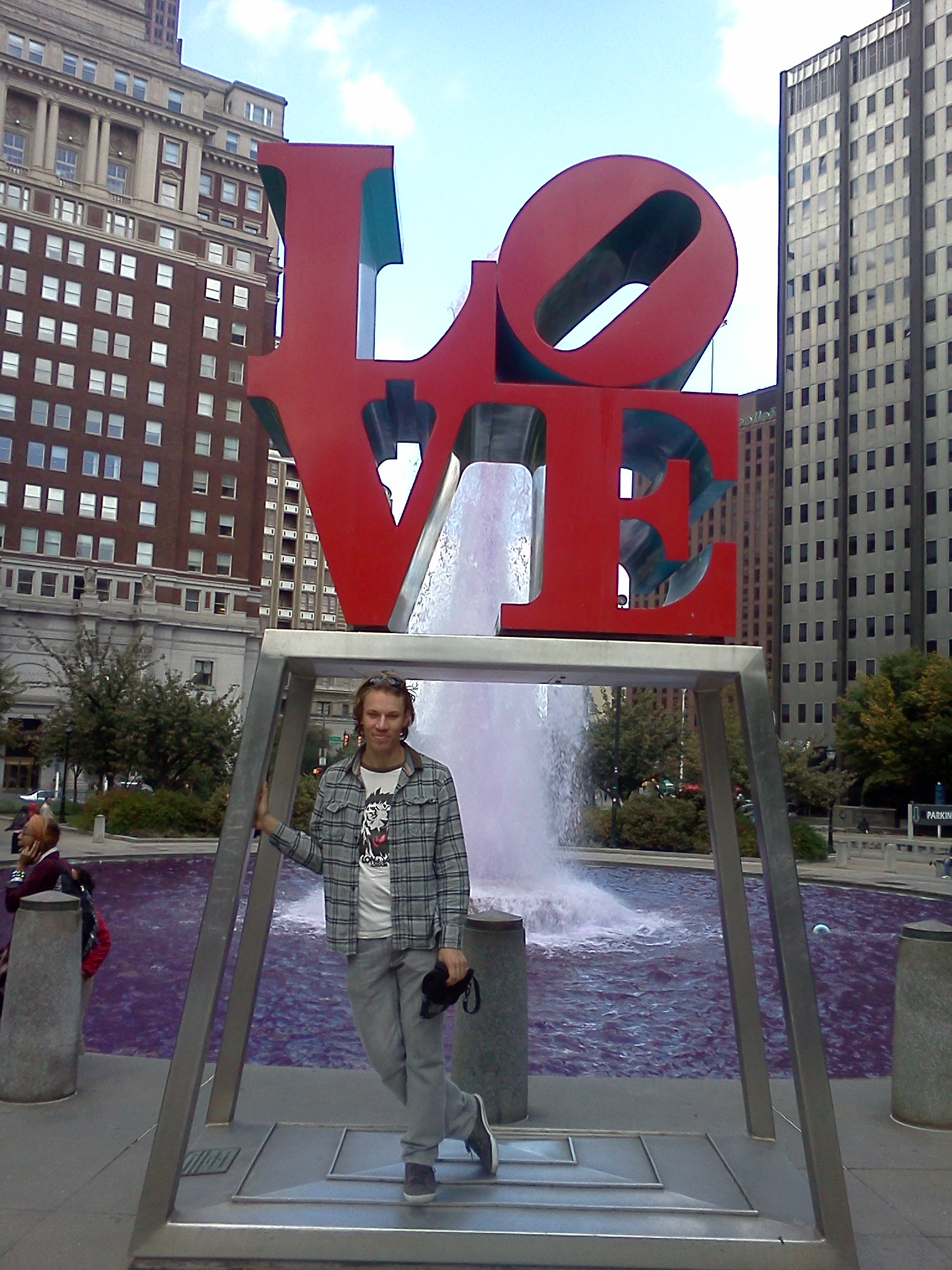 Kenya Medical Volunteer Ben Mcaskill at Philadelphia Love Statue