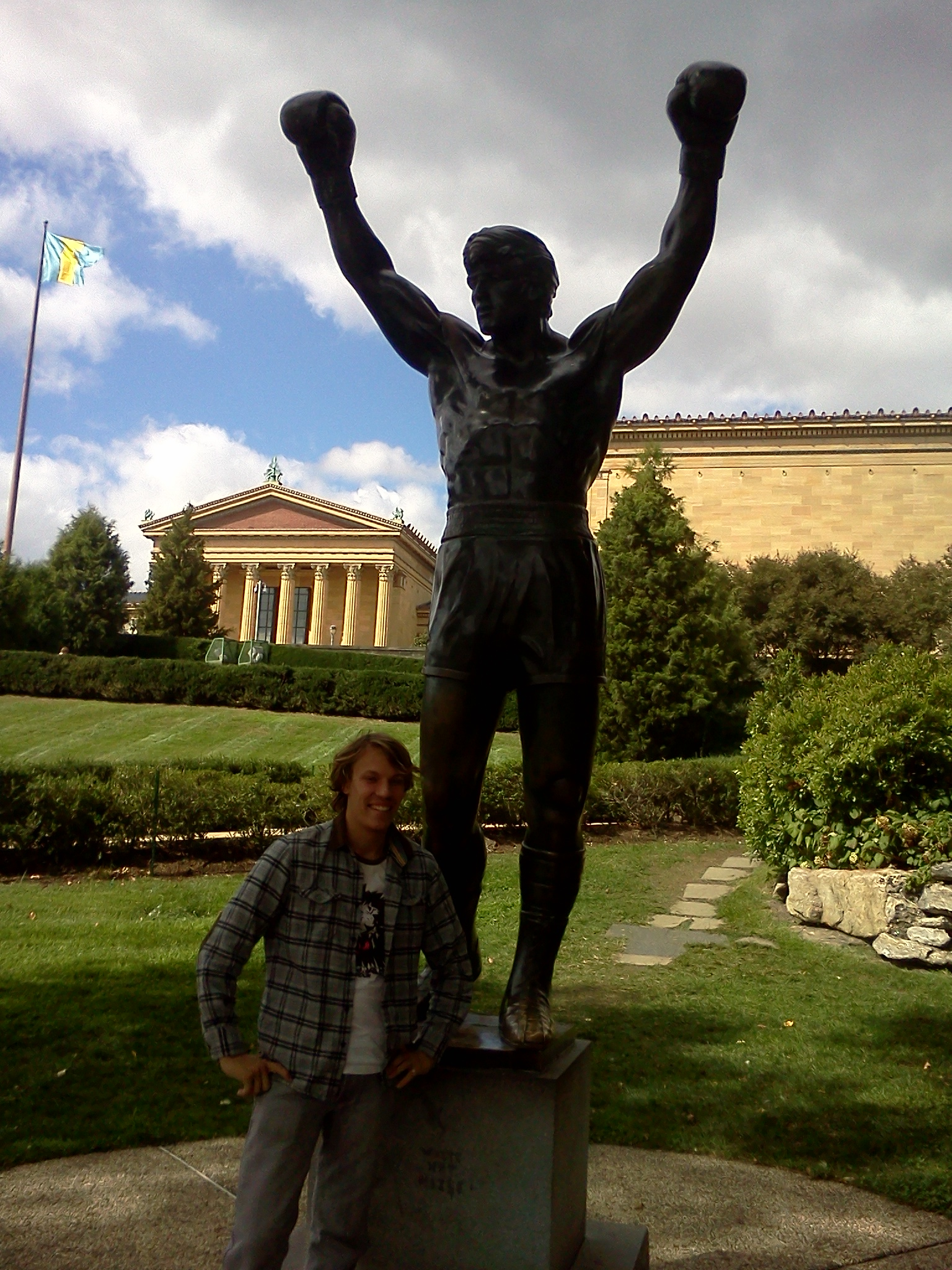 Kenya Medical Volunteer Ben Mcaskill at Philadelphia Rocky Statue